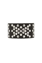 Forever 21 Studded Faux Leather Bracelet Black Silver