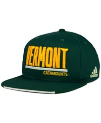 Adidas Vermont Catamounts Travel Flat Brim Snapback Cap Green