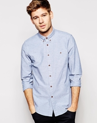 Asos Oxford Shirt In Long Sleeve With Lightweight Nep Blue