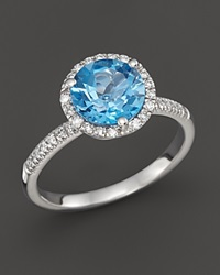Bloomingdale's Blue Topaz And Diamond Halo Ring In 14K White Gold Blue White