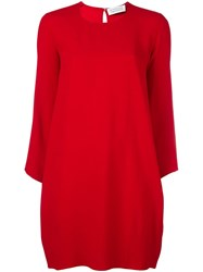 Gianluca Capannolo Longsleeved Round Neck Dress Red