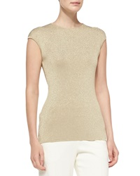 Escada Metallic Cap Sleeve Shell X