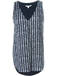 Derek Lam 10 Crosby Striped Floral Tank Top Blue