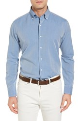 Peter Millar Men's Perfect Pinpoint Regular Fit Sport Shirt Imperial Turquoise