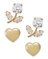 Macy's 10K Gold Earring Set Cubic Zirconia 2 3 8 Ct. T.W. Heart And Flower Stud Earring Set