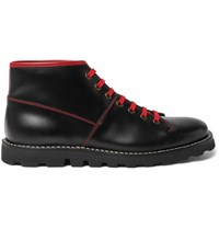 Prada Contrast Stitched Spazzolato Leather Boots Black