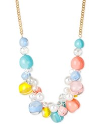 Macy's Gold Tone Pastel Bauble And Imitation Pearl Frontal Necklace