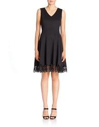 Chetta B Crochet Trimmed Fit And Flare Dress Black