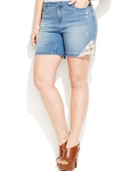 Junarose Plus Size Crochet Trim Denim Bermuda Shorts Light Blue