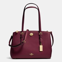 Coach Turnlock Carryall 29 In Crossgrain Leather Light Gold Burgundy