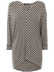 Phase Eight Mildred Chevron Stripe Top Charcoal