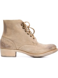Cherevichkiotvichki Distressed Lace Up Boots Nude And Neutrals