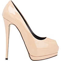 Patent Leather Peep Toe Platform Pumps Naked