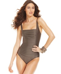 Calvin Klein Ruched Panel One Piece Swimsuit Women's Swimsuit Ink Shimmer