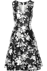 Oscar De La Renta Floral Print Silk And Cotton Blend Dress Black