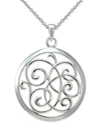 Macy's Round Filigree Disc Pendant Necklace In Sterling Silver