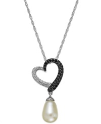 Macy's Sterling Silver Necklace Cultured Freshwater Pearl 7Mm X 10Mm And White And Black Diamond 1 4 Ct. T.W. Heart Pendant