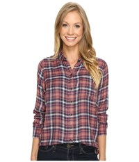 Lucky Brand Bungalow Plaid Top Pink Multi Women's Long Sleeve Pullover