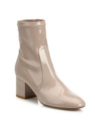 Valentino Stretch Patent Leather Block Heel Booties Poudre