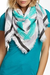Leigh And Luca Square Fringe Trim Scarf Blue