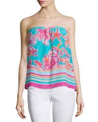 Lilly Pulitzer Odessa Strapless Printed Silk Top Sea Blue
