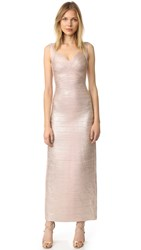 Herve Leger Estrella Maxi Dress Rose Gold Combo