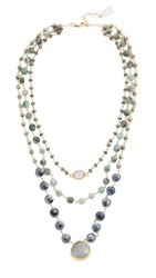 Ela Rae 3 In 1 Ara Necklace Hematite Emerald Black Pyrite