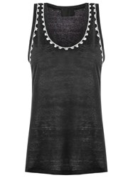 Andrea Bogosian Embroidered Tank Top Black