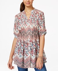 American Rag Chevron Printed Pintucked Three Quarter Sleeve Tunic Top Only At Macy's