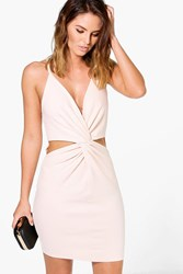Boohoo Knot Front Cut Out Bodycon Dress Blush