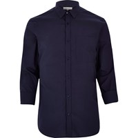 River Island Mens Navy Blue Smart Cotton Shirt