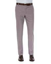 Paul Smith Gingham Flat Front Wool Trousers Red