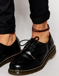 Asos Leather Anklet In Brown