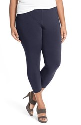 Plus Size Women's Eileen Fisher Lightweight Organic Cotton Crop Leggings Midnight