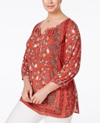 Styleandco. Style Co. Plus Size Handkerchief Print Three Quarter Sleeve Top Only At Macy's Scarf Dream Orange
