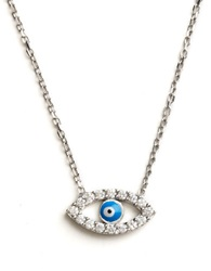 Lord And Taylor Sterling Silver Evil Eye Pendant Necklace Blue Silver