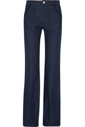 See By Chloe Embroidered High Rise Flared Jeans Dark Denim