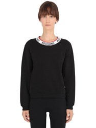 Moschino Logo Trim Cotton Fleece Sweatshirt