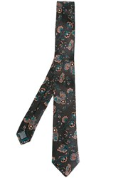 Paul Smith Floral Embroidered Tie Grey