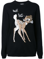 Markus Lupfer 'Bambi' Sequin Applique Pullover Black