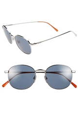 Jack Spade 'Franklin' 51Mm Round Retro Sunglasses Shiny Silver Blue