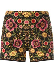 Alice Olivia Floral Embroidered Shorts Black