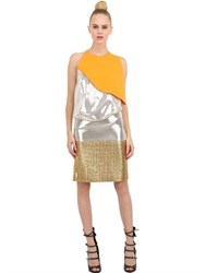 Pedro Lourenco Metallic Lame And Silk Crepe Top