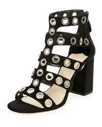 Prada Rivet Studded Caged Sandal Black Nero