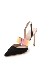 Giambattista Valli Faille And Iridescent Pumps Black