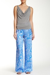 Eight Sixty Paisley Print Silk Palazzo Pant Blue