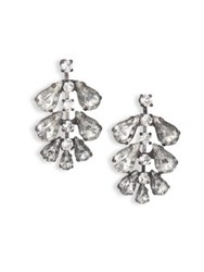 Erickson Beamon Frequent Flyer Crystal Leaf Earrings Silver
