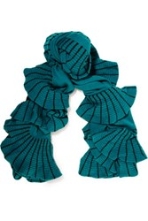 Magaschoni Ruffle Trimmed Color Block Cashmere Scarf Teal