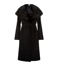 Cinzia Rocca Large Collar Belted Coat Female Black