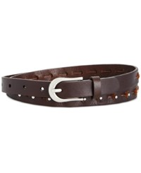 Inc International Concepts Studded Skinny Leather Belt Only At Macy's Brown